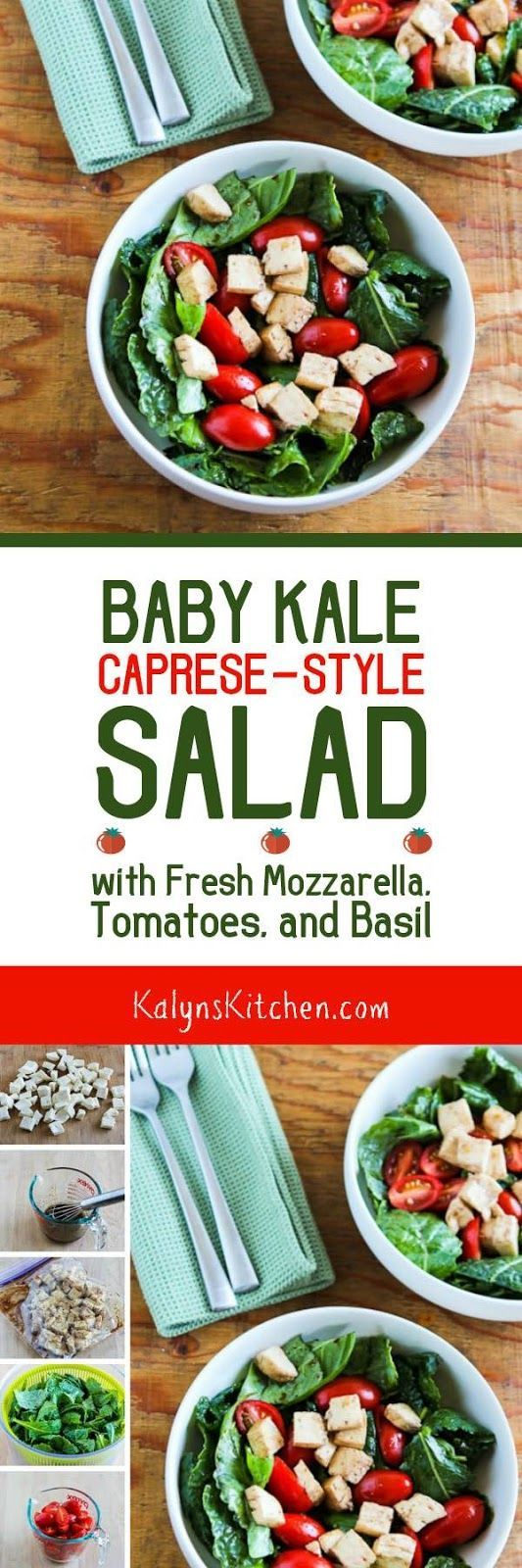 Baby Kale Caprese-Style Salad with Fresh Mozzarella, Tomatoes, and Basil