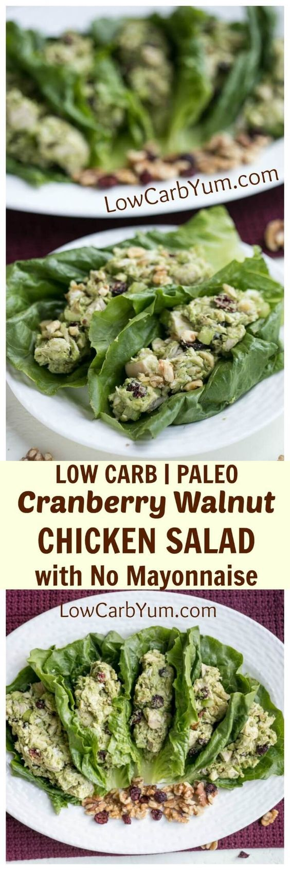 A low carb cranberry walnut chicken salad made with @CAWalnuts. It's paleo friendly, gluten free, dairy free, and has no mayonnaise. #walnuts #CG #ad | LowCarbYum.com